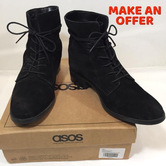 abda89fbd36 ASOS Aliza Black Suede Lace Up Combat Ankle Boots